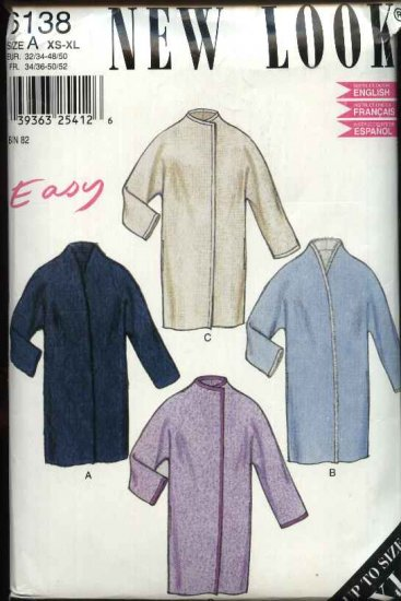 New Look Sewing Pattern 6138 Misses Size 6-24 Front Wrap  Coat Long Dolman Sleeves