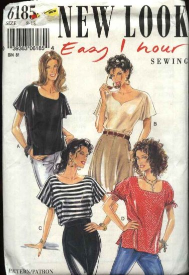 New Look Sewing Pattern 6185 Misses Size 8-18 Easy Pullover Tops Sleeve Neck Options