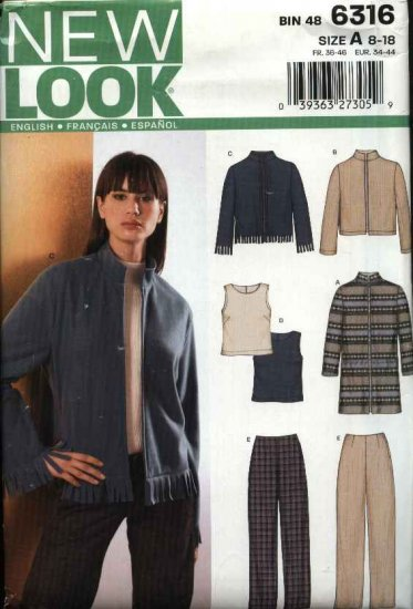 New Look Sewing Pattern 6316 Misses Size 8-18 Coat Jacket Pants Top