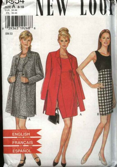 New Look Sewing Pattern 6554 Misses Size 8-18 Empire Dress Jacket Coat