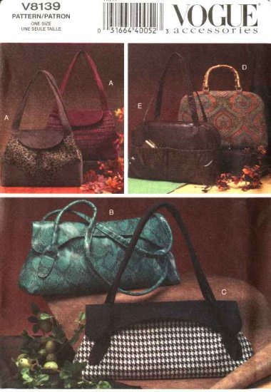 Vogue Sewing Pattern 8139 Five Lined Fashion Handbags Purses Bags