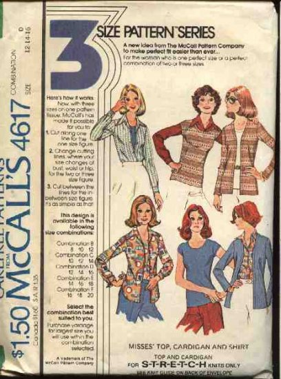 Retro McCall's Sewing Pattern 4617 M4617 Misses Size 10-14 Knit Top Cardigan Button Front Shirt