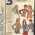 Retro McCall's Sewing Pattern 4617 Misses Size 10-14 Knit Pullover Top Cardigan Button Front Shirt