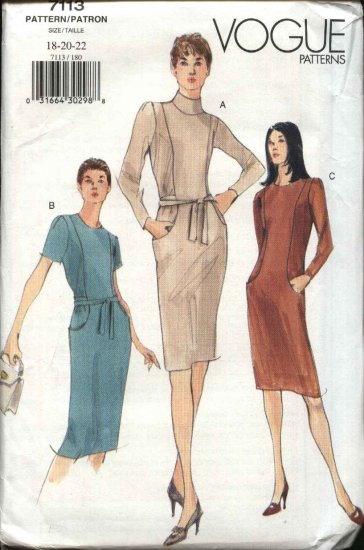 Vogue Sewing Pattern 7113 Misses Size 18-22 Easy Straight Dresses