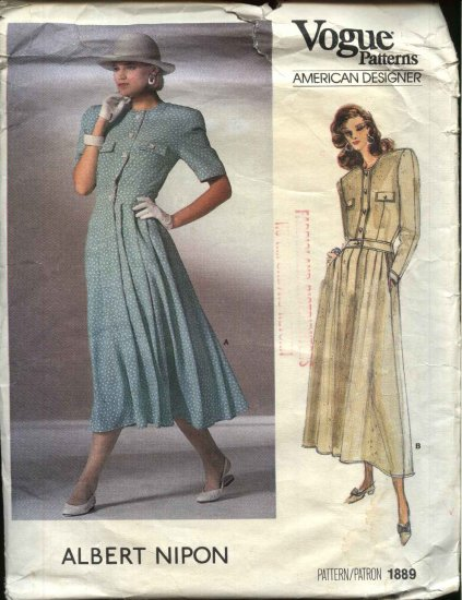 Vogue Sewing Pattern 1889 Misses Size 12 Albert Nipon Dress