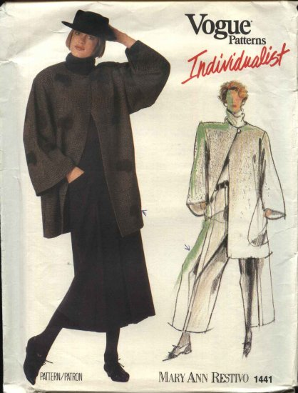 Vogue Pattern 1441 V1441 Size 10 Mary Ann Restivo Individualist Jacket Skirt Pants