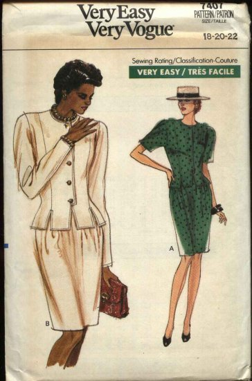Retro Vogue Sewing Pattern 7407 Misses Size 18-22 Easy Top Skirt Suit