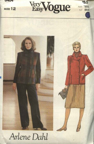 Vogue Sewing Pattern 8404 Misses Size 12 Easy Arlene Dahl Jacket Skirt Pants