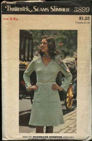 Butterick Sewing Pattern 3899 Women�s Plus Size 24 ½ Knit Long Sleeve Dress