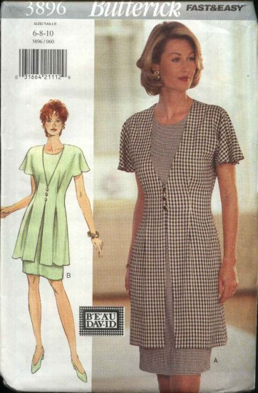 Butterick Sewing Pattern 3896 Misses Size 6-8-10 Easy Short Sleeve Dress with attached Overdress