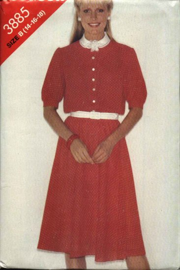 Butterick Sewing Pattern 3885 Misses Size 14-16-18 Easy Short Sleeve Flared Skirt Dress