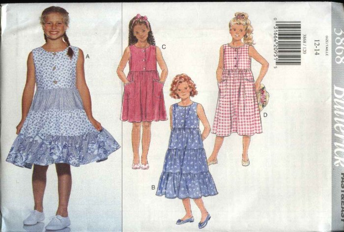 Butterick Sewing Pattern 3868 Girls Size 12-14 Easy Pullover Sleeveless Raised Waist Summer Dresses