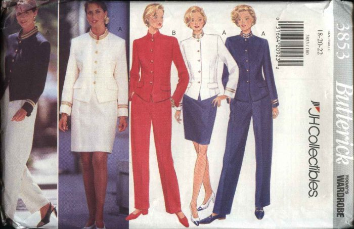 Butterick Sewing Pattern 3853 Misses Size 12-16 Wardrobe Lined Jacket Straight Skirt Pants