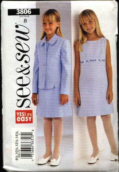 Butterick Sewing Pattern 3806 Girls Plus Size 8 ½ - 16 ½ Easy Sleevelss Dress Long Sleeve Jacket