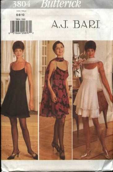 ButterickSewing Pattern 3804 Misses Size 6-10 Formal Empire Waist Layered Skirt Dress Stole