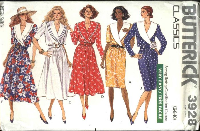 Butterick Sewing Pattern 3928 Misses Size 6-10 Easy Classic Straight Flared Skirt Shawl Collar Dress