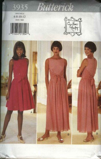 Butterick Sewing Pattern 3935 Misses Size 6-12 Easy Short Long Sleeveless Summer Dress
