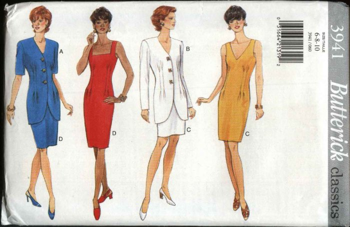 Butterick Sewing Pattern 3941 B3941 Misses Size 6-10 Easy Classic Sleeveless Straight Dress Jacket