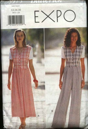 Butterick Sewing Pattern 3975 B3975 Misses Size 12-14-16 Easy Dress Jumpsuit