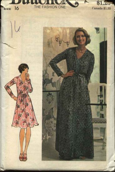 Retro Butterick Sewing Pattern 3972 Misses Size 16 B38 Long Sleeve Pullover Dress