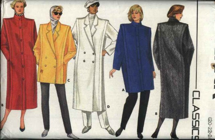 Butterick Sewing Pattern 4044 Misses Size 20-24 Classic Long Short Straight Winter Coat Jacket