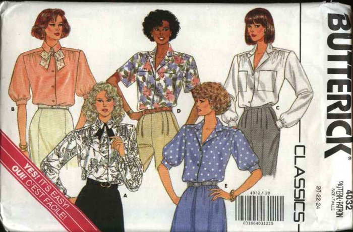 Butterick Sewing Pattern 4032 Misses Size 20-24 Easy Classic Shirt Blouse