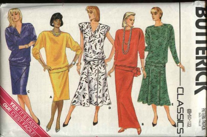 Butterick Sewing Pattern 4023 Misses Size 8-12 Easy Pullover Top Straight Flared Long Short Skirt