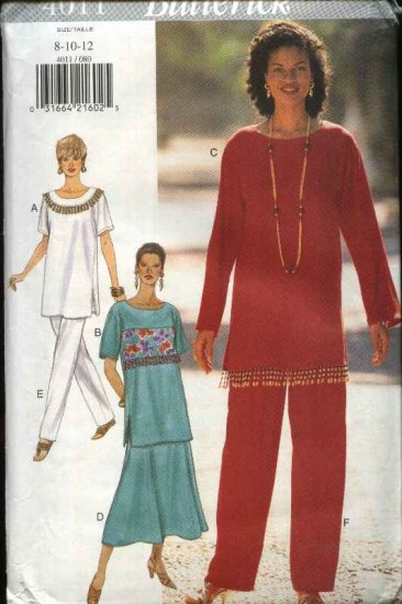 Butterick Sewing Pattern 4011 Misses Size 8-10-12 Easy Pullover Top Flared Skirt Pants