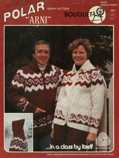 Polar Bouquet �Arni� Cardigan Sweater Pattern Adults Mens Misses