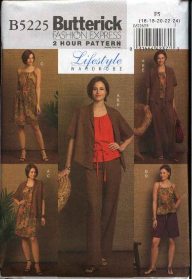 Butterick Sewing Pattern 5225 B5225 Misses Size 16-24 Easy  Wardrobe Dress Jacket Top Pants Shorts
