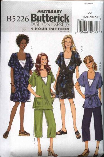 Butterick Sewing Pattern 5226 Misses Size 16-26 Easy Wardrobe Tunic Dress Knit Camisole Pants