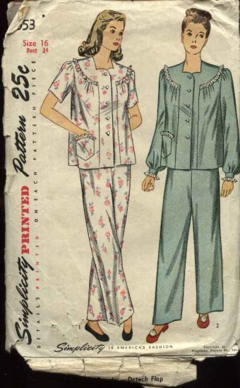 Vintage 1947 Simplicity Sewing Pattern 2053 Misses Size 16 Bust 34 USED Pajamas Top Pants