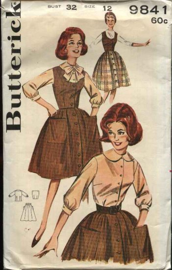 Vintage Butterick Sewing Pattern 9841 Misses Size 12 Bust 32� Used Blouse Skirt Vest Jumper