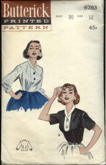 Vintage 1954 Butterick Sewing Pattern 6783 Misses Size 12 Bust 30 Used Roll Collar Blouse Top