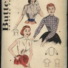 Vintage Butterick Pattern 6985 Misses Size 12 Bust 30 Used Casual Button Front Blouse Shirt