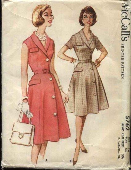 Vintage 1961 McCall�s Pattern 5762 Size 16 Misses Button Front Shirtwaist Dress
