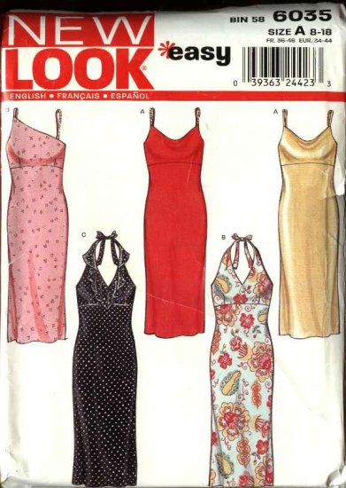 New Look Sewing Pattern 6035 Misses Size 8-18 Halter Summer Dresses Sundress