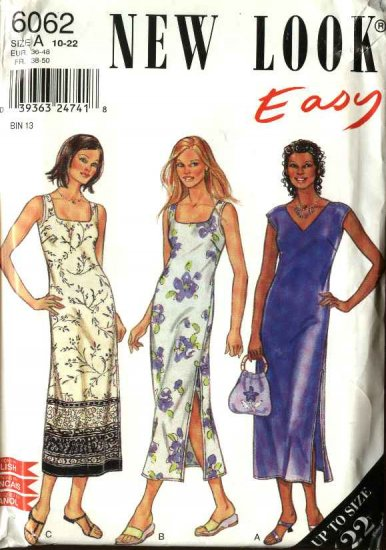 New Look Sewing Pattern 6062 Misses' Size 10-22 Easy Straight Dress