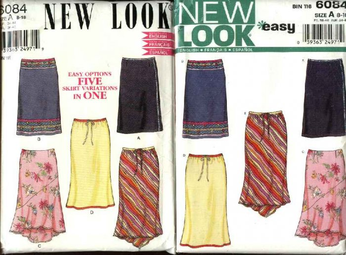 New Look Sewing Pattern 6084  Misses Size 8-18 Fitted Skirts Hem Options