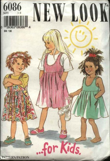 New Look Sewing Pattern 6086 Girls Size 3-8 Jumper Top Playsuit