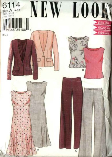 New Look Pattern 6114 Size 6-16 Jacket Top Skirt Pants Wardrobe