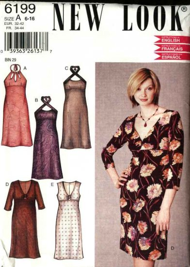 New Look Sewing Pattern 6199 Misses Size 6-16 Halter V-neck Dresses