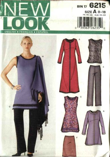 New Look Sewing Pattern 6215 Misses Size 8-18 Wardrobe Top Dress Skirt  Pant Shawl