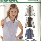 New Look Sewing Pattern 6217 Misses Size 8-18 Easy Shirts Blouse Top Sleeve Options