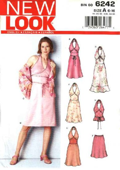 New Look Sewing Pattern 6242 Misses Size 6-16 Halter Dress Top Skirt Shawl