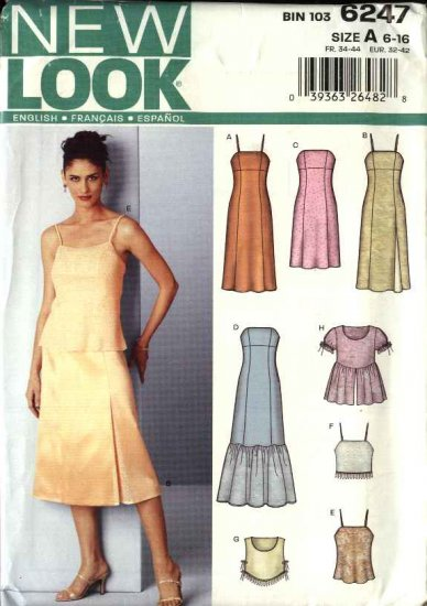 New Look Pattern 6247 Misses Size 6-16 Formal Fitted Dress Bias Top Camisole
