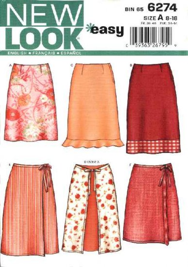 New Look Sewing Pattern 6274 Misses Size 8-18 Wrap Front Fitted A-Line Skirts