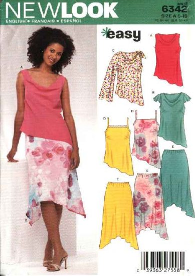 New Look Sewing Pattern 6342 Misses Size 6-16 Easy Asymmetrical Tops Skirts