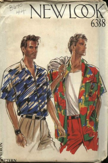 New Look Sewing Pattern 6388 Size 36-44� Chest Mens Shirt