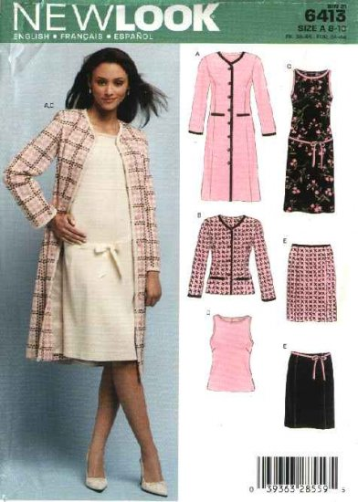 New Look Pattern 6413 Misses Size 8-18 Coat Dress Jacket Skirt